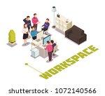 office work space isometric...   Shutterstock .eps vector #1072140566
