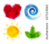 4 watercolor elements  isolated ... | Shutterstock .eps vector #107214062