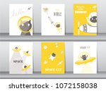 set of cute cat on space... | Shutterstock .eps vector #1072158038
