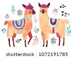 cute illustration. watercolor... | Shutterstock . vector #1072191785
