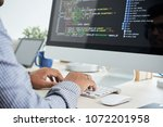 cropped image of it specialist... | Shutterstock . vector #1072201958