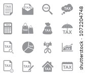 tax icons. gray flat design.... | Shutterstock .eps vector #1072204748