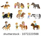 funny little kids riding ponies ... | Shutterstock .eps vector #1072223588