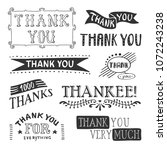 thank you lettering set with... | Shutterstock .eps vector #1072243238