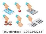 isometric hand indicates... | Shutterstock .eps vector #1072243265