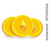 ethereum. 2d cartoon coin.... | Shutterstock .eps vector #1072243316