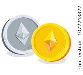 ethereum. 2d cartoon coin.... | Shutterstock .eps vector #1072243322