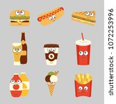 fast food set cute characters... | Shutterstock .eps vector #1072253996