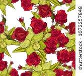 vector seamless flower pattern... | Shutterstock .eps vector #1072257848