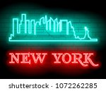 neon silhouette of new york ... | Shutterstock .eps vector #1072262285
