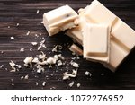 pieces of white chocolate on... | Shutterstock . vector #1072276952