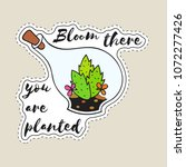 sticker with cactus in... | Shutterstock .eps vector #1072277426