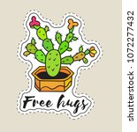sticker with cactus in pot with ... | Shutterstock .eps vector #1072277432
