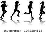 little girl running silhouettes ...   Shutterstock .eps vector #1072284518