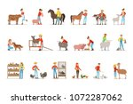 breeding animals farmland. farm ... | Shutterstock .eps vector #1072287062
