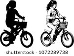 preschooler girl riding bicycle ... | Shutterstock .eps vector #1072289738