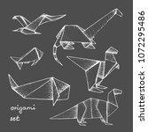 origami   set of 6 white paper... | Shutterstock .eps vector #1072295486