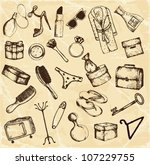 hand drawn big set of female...   Shutterstock .eps vector #107229755