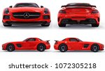 set mercedes benz sls red.... | Shutterstock . vector #1072305218