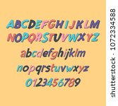 colored latin alphabet.... | Shutterstock .eps vector #1072334588