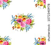 watercolor floral seamless... | Shutterstock . vector #1072340978