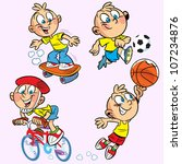 the illustration shows a boy... | Shutterstock .eps vector #107234876