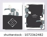 botanical wedding invitation... | Shutterstock .eps vector #1072362482