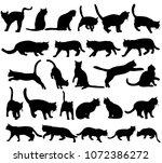 icon  silhouette cat  set ... | Shutterstock .eps vector #1072386272