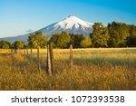 villarrica volcano  in the... | Shutterstock . vector #1072393538