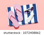 summer beach holiday accesorries | Shutterstock . vector #1072408862