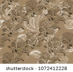 paisley watercolor ethnic... | Shutterstock . vector #1072412228
