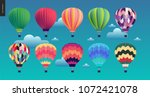 hot air balloons   set of... | Shutterstock .eps vector #1072421078