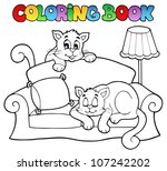 coloring book sofa with two... | Shutterstock .eps vector #107242202