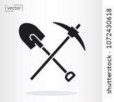 pickaxe shovel icon vector | Shutterstock .eps vector #1072430618