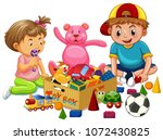 brother and sister playing toys ... | Shutterstock .eps vector #1072430825