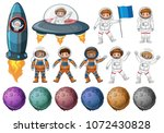 kids in astronaut costume and... | Shutterstock .eps vector #1072430828