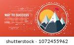 flag on the mountain peak.... | Shutterstock .eps vector #1072455962