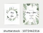 wedding invitation with green...   Shutterstock .eps vector #1072462316