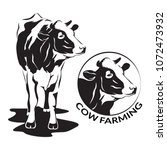 cow stylized symbol and cow...   Shutterstock .eps vector #1072473932