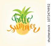hand sketched hello summer text ...   Shutterstock .eps vector #1072474952