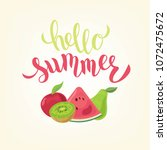 hand sketched hello summer text ...   Shutterstock .eps vector #1072475672