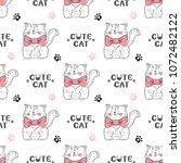 cats vector seamless pattern....   Shutterstock .eps vector #1072482122