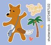 fox cartoon illustration  ...   Shutterstock .eps vector #1072487132