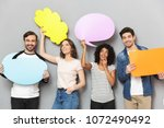 image of emotional group of... | Shutterstock . vector #1072490492