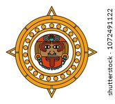 color sun god and indigenous... | Shutterstock .eps vector #1072491122