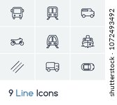 transportation icon set and... | Shutterstock . vector #1072493492