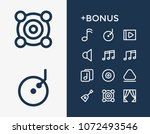 melody icon set and music note...