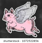 flying winged pig. colorful...   Shutterstock .eps vector #1072522856