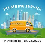 plumbing service car fast ride... | Shutterstock .eps vector #1072528298