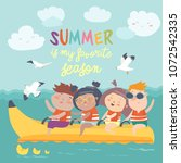 happy kids riding a banana boat   Shutterstock .eps vector #1072542335